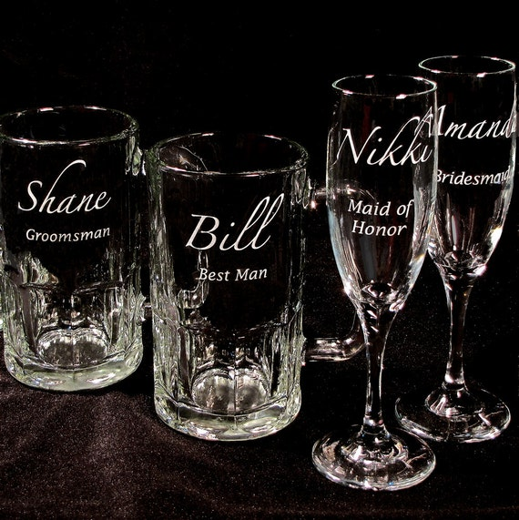 Wedding Gift Beer Mugs : Personalized Wedding Party Gift Set Beer Mugs & Toasting Flutes