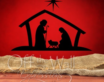 Nativity Manger Scene, Christmas vinyl wall decal, nativity scene decal, window decor