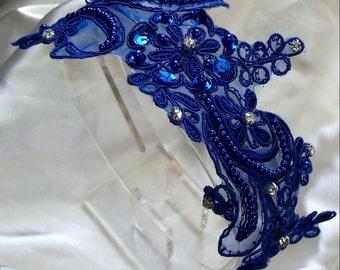 Lace Headband, Royal Blue Wedding,Royal Blue,Bridal Headband,Bridal accessories,Bridesmaid  Headband