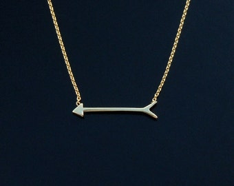 Tiny Sideways Arrow Necklace in Gold or Silver