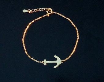 Sideways Anchor Bracelet - Sterling Silver or Gold