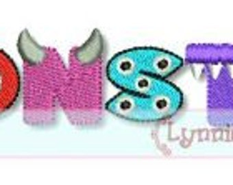 MONSTER Word Art COLLAGE 4x4 5x7 6x10 Machine Embroidery Design boy girl  INSTANT Download