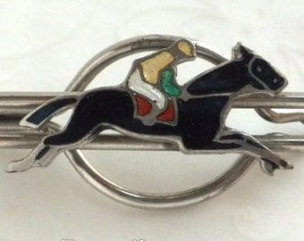 Vintage Enamel Tie Bar - Black Horse and Jockey - Tie Clasp Silver tone