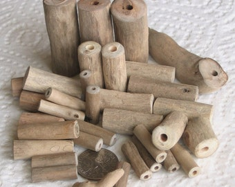 34 Driftwood Sea Wood Beads Tubes Drilled 1.8mm and 3mm holes Supplies (1600)