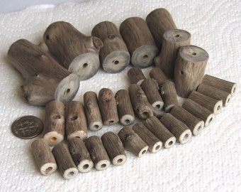 31 Driftwood Sea Wood Beads Tubes Drilled 3mm holes Supplies (1605)
