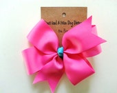 """Hair bow- Girls Hot Pink with blue 4"""" pinwheel bow on alligator clip- Ships FREE with any Monthly Milestone Sticker purchase from my shop"""