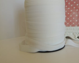 "5/8"" Inch Fold Over Elastic - 5 Yards of Matte White FOE"