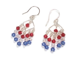 Patriotic Earrings, Red White and Blue Jewelry, Fourth Of July Crystal Sterling Silver Earrings
