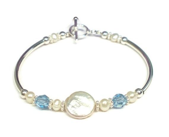 Bracelet - Freshwater Pearl Sterling Silver Blue Crystal