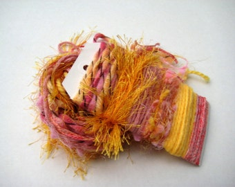 TEQUILLA SUNRISE Specialty Yarn Fiber Embellishment Bundle - Altered Arts, Jewelry, etc - 5 or more bundles for 10% discount