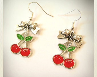 Pin up style small red cherries earrings