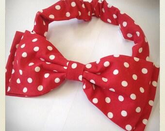 Pin Up -style Hair Bow, red polka dot