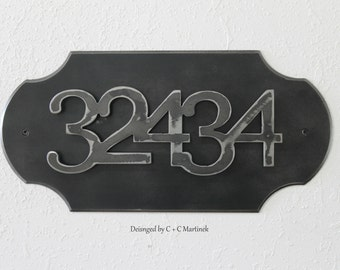 House number - Metal Address Plate - 5 Number Combination - Vertical or Horizonal options - Iron Address