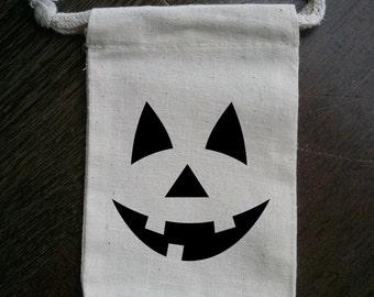 Pumpkin Jack O'Lantern Face Halloween Party Muslin Favor Bag