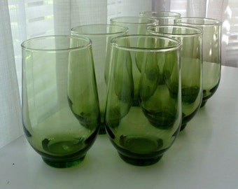 Seven Green Barrel Tumblers