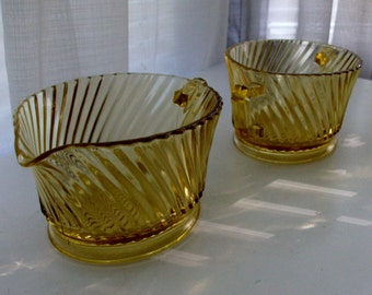 Diana Yellow Swirl Depression Glass Cream Pitcher and Sugar Bowl by Federal Glass