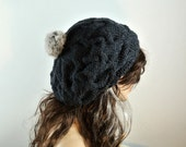 knitted hat with fur ball hand knitted hat slouchy beret baggy beanie Winter Accessories pom pom hat pom pom beanie