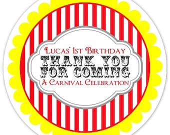 Carnival Birthday Labels, Personalized Circus Stickers, Birthday Decoration, Carnival Favors, Circus Party Favors