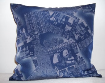 Egyptian Theme Pillow Covers on Navy Blue Background - Set of 2