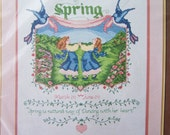 Vintage 80's Bernat Counted Cross Stitch Kit, SALE Spring Themed Kit, Cottage Chic Sampler, Cross Stitch Needlework Kit Destash
