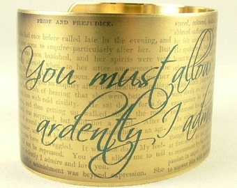 Pride and Prejudice Book by Jane Austen - Mr Darcy Proposal Quote Brass Cuff Bracelet in Blue - Romantic Gift For Her