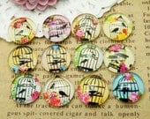 Photo Glass Cabochon Handmade 24pcs(12pairs) 12mm Image Glass Cabochon Birdcage P12--20% OFF