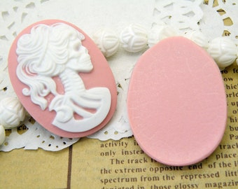 10pcs 30x40mm Baby Pink Resin Cabochons R28