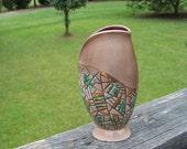 Vintage Mid Century Mod Vase--Abstract Mosaic Style Vase--Mad Men--MCM--Atomic Design--Ceramic Vase