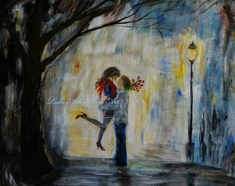 """Couple In Love Hugging Couples Hugging Romantic Romance Flowers City Abstract Loving Couple Abstract """" Hello Honey"""" Original Leslie Allen"""