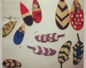 reserved for TARA hand painted folk art wooden feather earrings