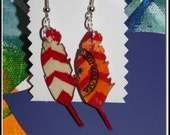 hand painted folk art woodenfeather  earrings  with Chevron stripes