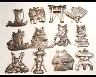 Vintage 12 sterling place card figural Holders Chinese export dragon Cat ship helmet