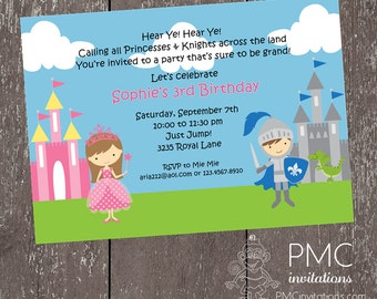 Princess and Knight Birthday Invitations - 1.00 each with envelopes
