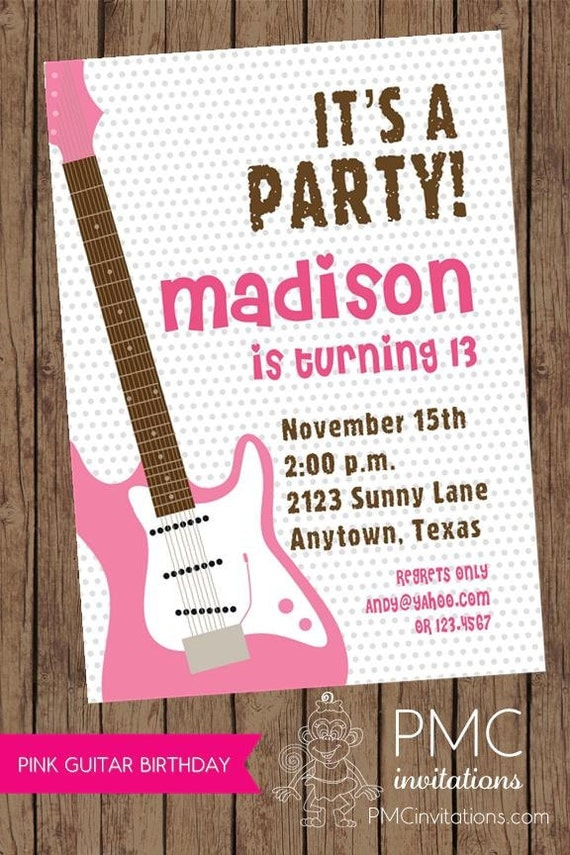 Pink Guitar Music Girl Birthday Party Invitations - 1.00 each with ...