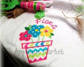 Machine Embroidery Design Applique Flower Pot  INSTANT DOWNLOAD
