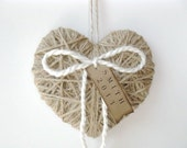 Christmas ornament - jute heart ornament - personalized Christmas ornament, holiday decor, Christmas gift, first Christmas, tree decoration