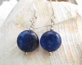 Lapis Lazuli Beaded Earrings, Handmade by Harleypaws