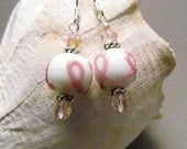 Breast cancer Awareness Earrings, Pink Ribbon, Handmade by Harleypaws, SRAJD