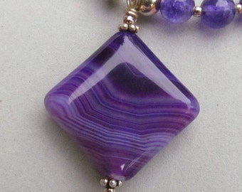 Purple Beaded Necklace, Handmade by Harleypaws, SRAJD