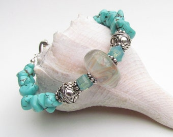Lampwork Focal Bracelet, with Beaded Turquoise Howlite, Handmade by Harleypaws, SRAJD OOAK