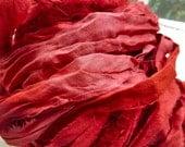 full skein red diamond jewel tones recycled silk sari ribbon