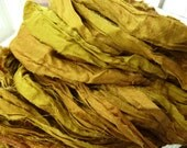 full skein gold topaz jewel tones recycled silk sari ribbon
