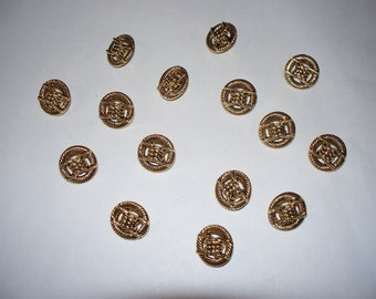 15 Gold Colored, Shank Buttons, Lot 2388 (Free US Shipping)
