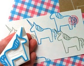 unicorn stamp. dala horse hand carved rubber stamp. fairytale birthday scrapbooking. gift wrapping. holiday crafts with children