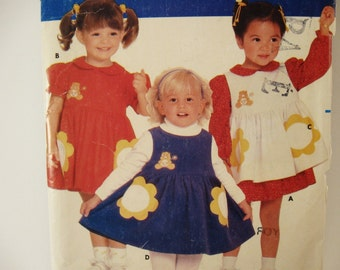 Butterick 6262 Sewing Pattern Girls Care Bears Dress Pinafore Size 1 - 2