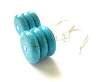 Earrings Sterling Silver Turquoise Blue Dyed Magnesite Discs Handmade Jewelry