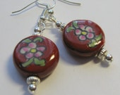 Ceramic Flower Earrings with Silver Accents  E1243