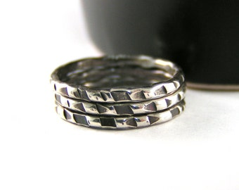 Silver Stack Ring, Sterling Silver Stack Ring, Trone Textured Stack Band Ring, Choice of 1 Personalized Band Ring