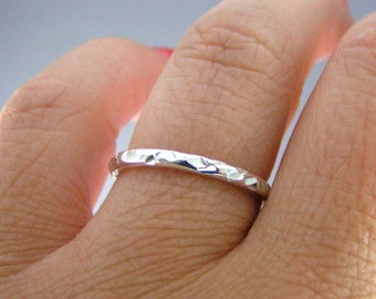 Stack Ring, Cooper Cut Stack Band, Silver Stack Band, 1 Band Ring, Sterling Ring