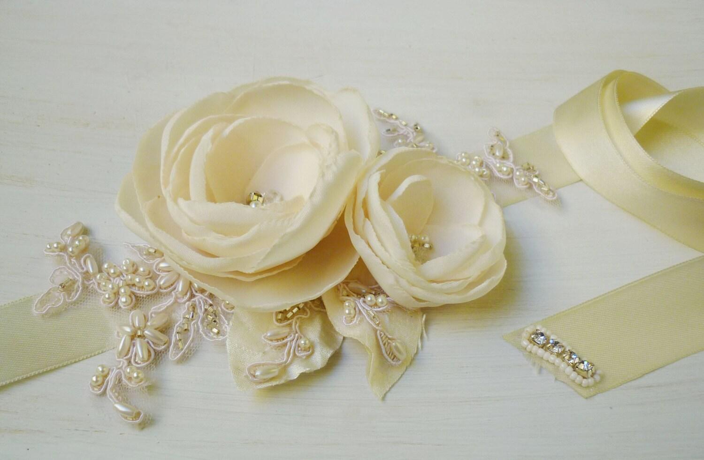 Envio inmediato cinto o fajin con flores de tela hechas a - Flores de telas hechas a mano ...